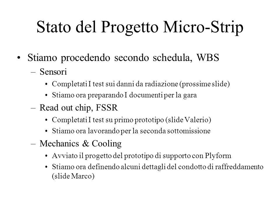 Stato del Progetto Micro-Strip Stiamo procedendo secondo schedula, WBS –Sensori Completati I test sui danni da radiazione (prossime slide) Stiamo ora