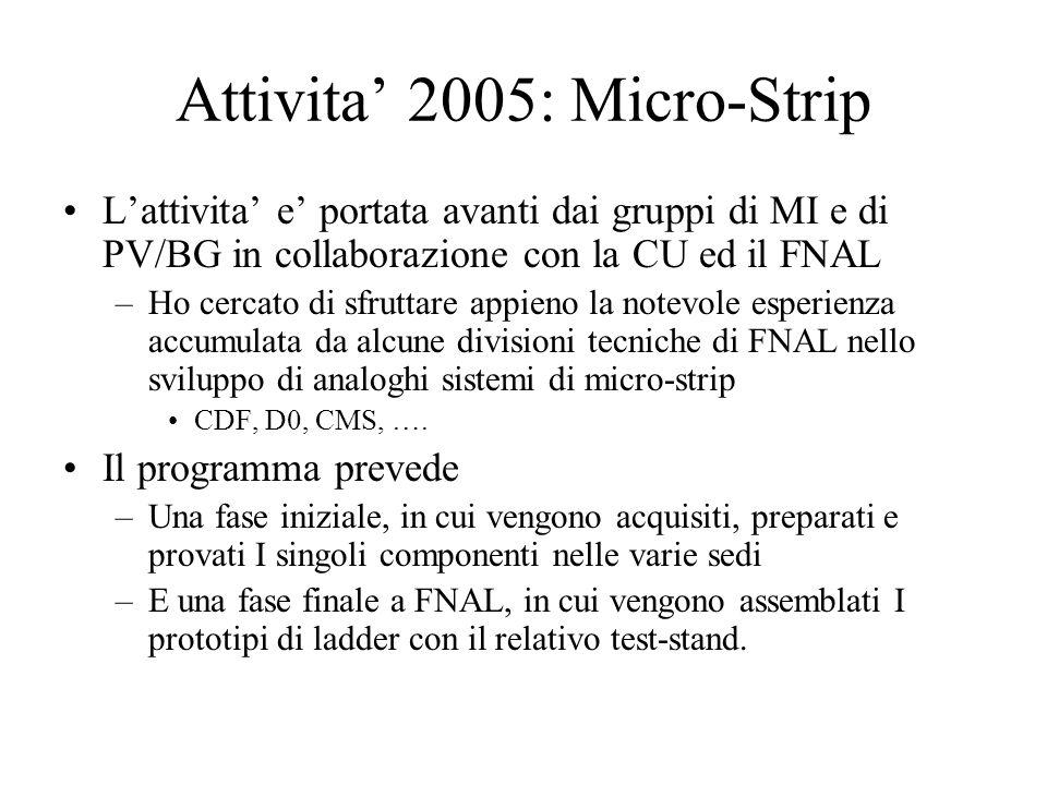 Attivita' 2005: Micro-Strip L'attivita' e' portata avanti dai gruppi di MI e di PV/BG in collaborazione con la CU ed il FNAL –Ho cercato di sfruttare