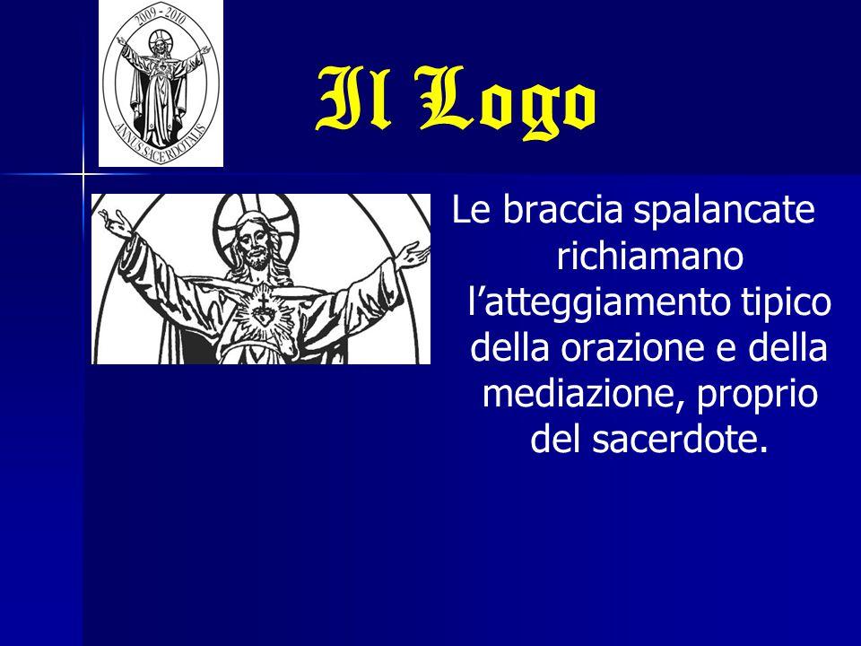 Il Logo Le braccia spalancate richiamano l'atteggiamento tipico della orazione e della mediazione, proprio del sacerdote.