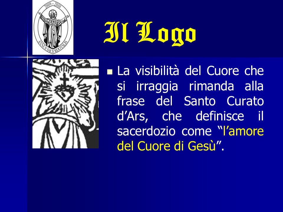 """Il Logo La visibilità del Cuore che si irraggia rimanda alla frase del Santo Curato d'Ars, che definisce il sacerdozio come """"l'amore del Cuore di Gesù"""
