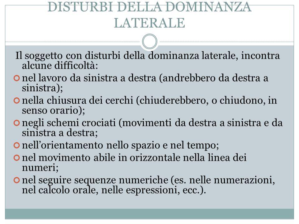 DISTURBI DELLA DOMINANZA LATERALE Il soggetto con disturbi della dominanza laterale, incontra alcune difficoltà: nel lavoro da sinistra a destra (andr