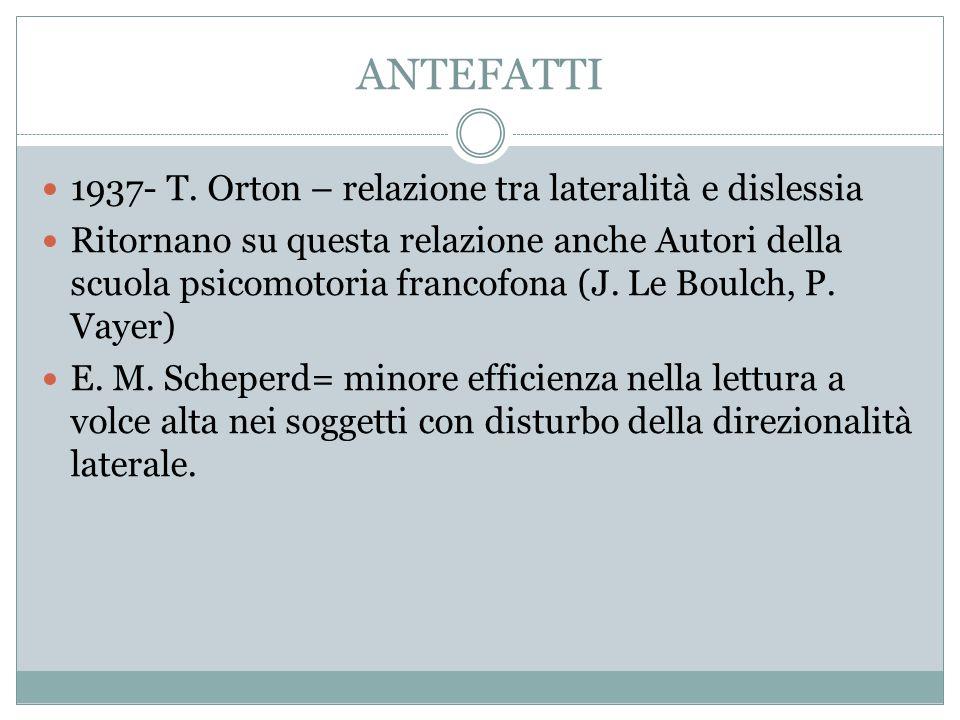 ANTEFATTI 1937- T. Orton – relazione tra lateralità e dislessia Ritornano su questa relazione anche Autori della scuola psicomotoria francofona (J. Le