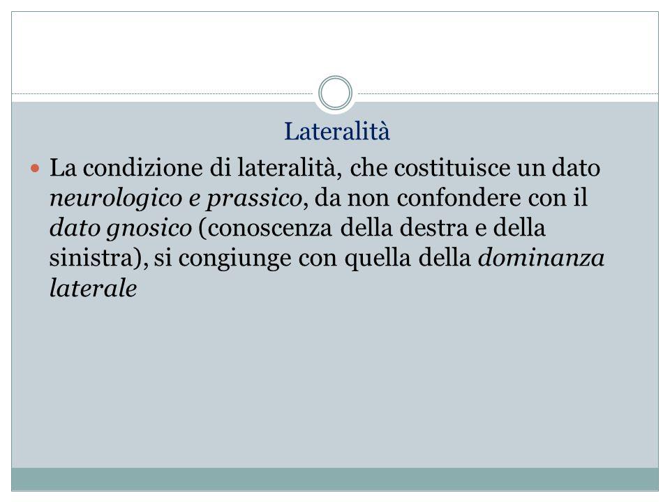 Lateralità La condizione di lateralità, che costituisce un dato neurologico e prassico, da non confondere con il dato gnosico (conoscenza della destra
