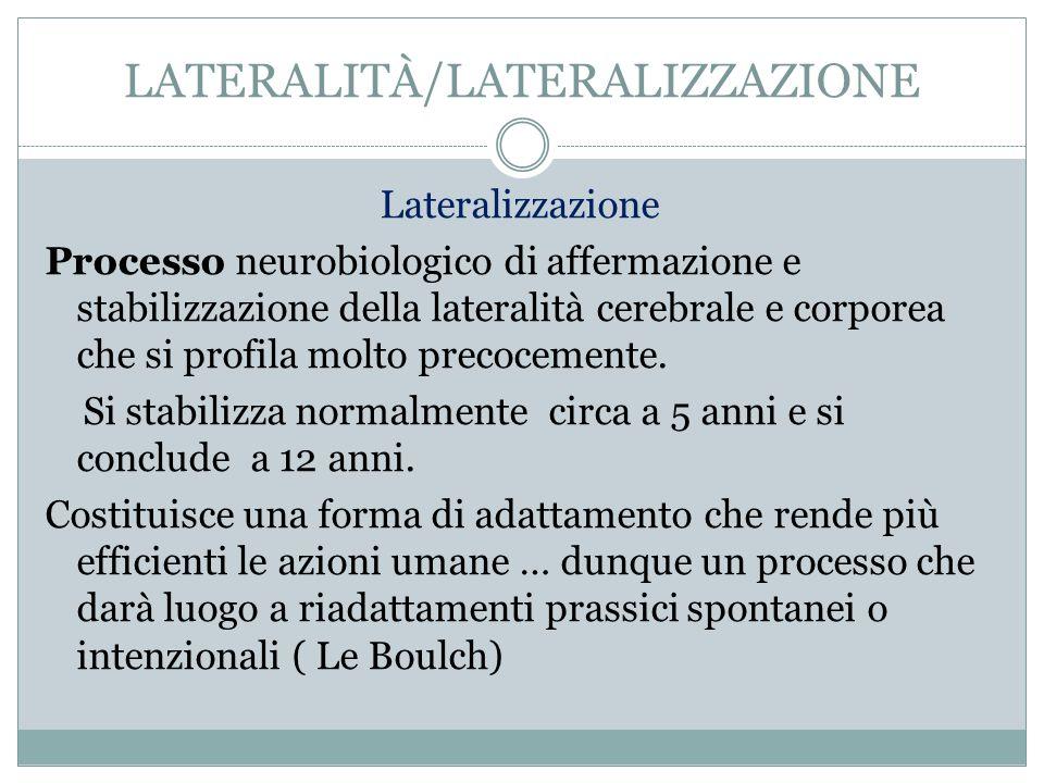 LATERALITÀ/LATERALIZZAZIONE Lateralizzazione Processo neurobiologico di affermazione e stabilizzazione della lateralità cerebrale e corporea che si pr