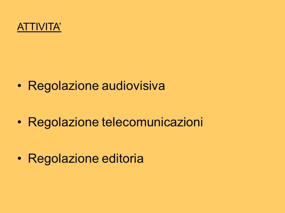 ATTIVITA' Regolazione audiovisiva Regolazione telecomunicazioni Regolazione editoria