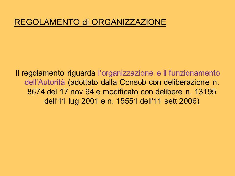 REGOLAMENTO di ORGANIZZAZIONE Il regolamento riguarda l'organizzazione e il funzionamento dell'Autorità (adottato dalla Consob con deliberazione n.