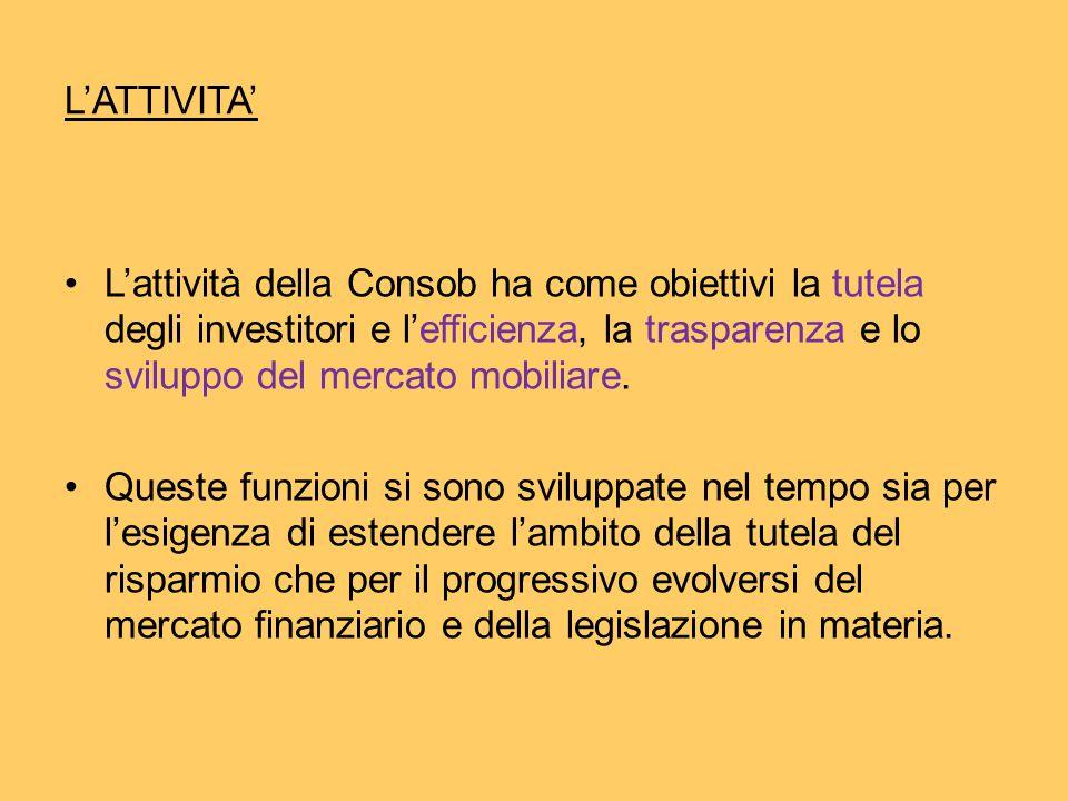 L'ATTIVITA' L'attività della Consob ha come obiettivi la tutela degli investitori e l'efficienza, la trasparenza e lo sviluppo del mercato mobiliare.