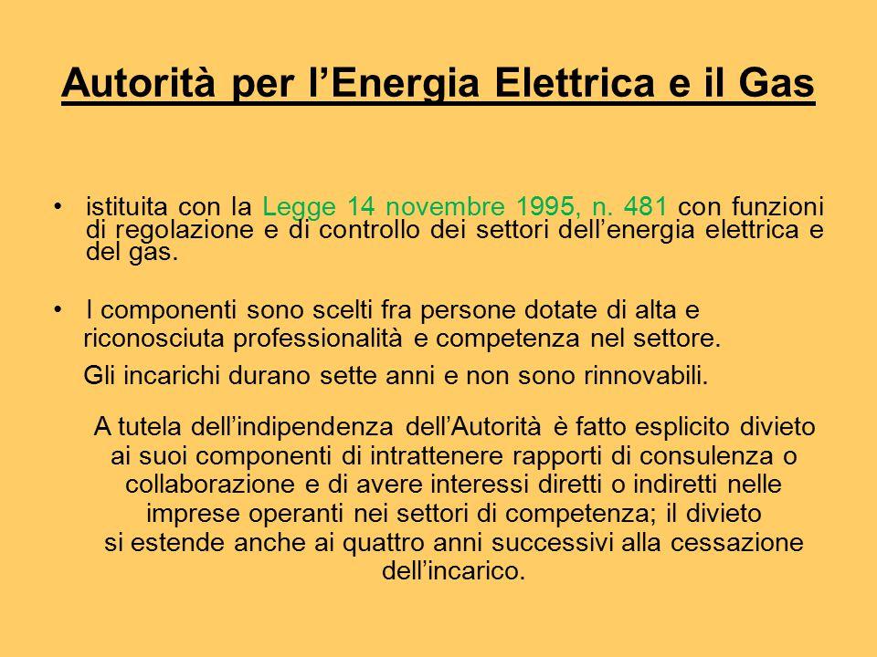 Autorità per l'Energia Elettrica e il Gas istituita con la Legge 14 novembre 1995, n.