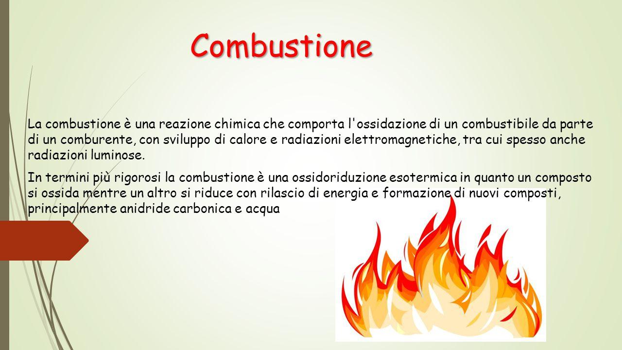 La combustione è una reazione chimica che comporta l'ossidazione di un combustibile da parte di un comburente, con sviluppo di calore e radiazioni ele