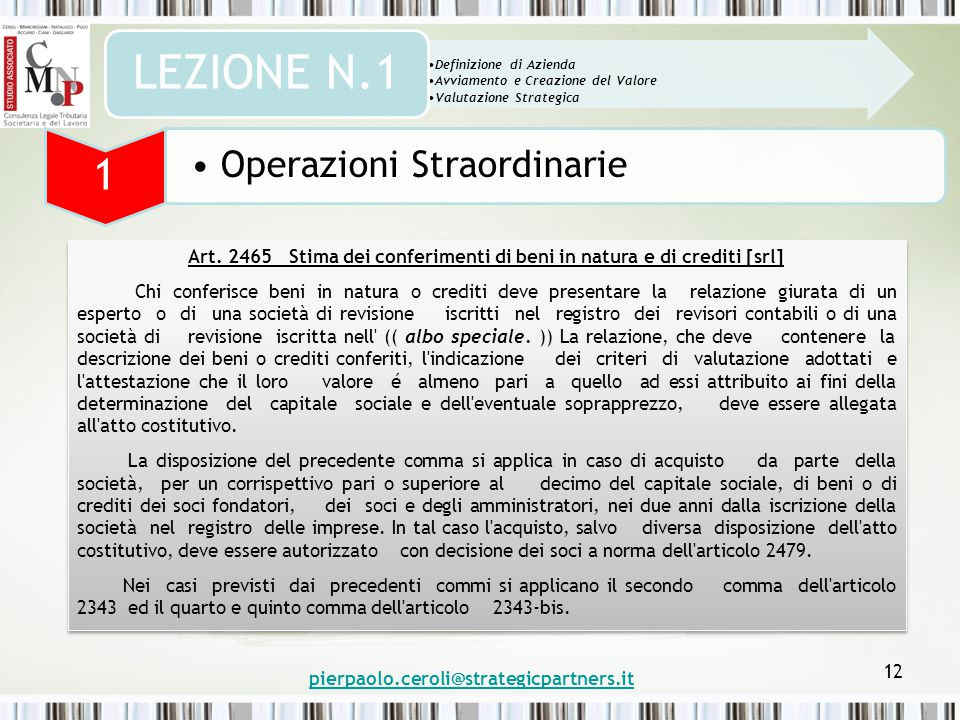 pierpaolo.ceroli@strategicpartners.it 12 Art.