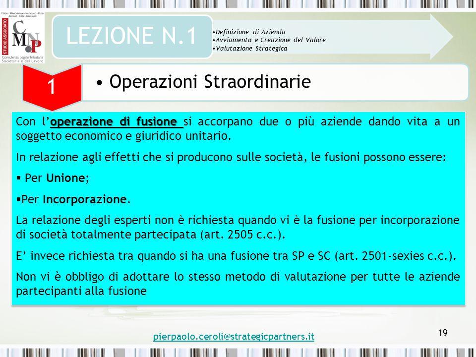 pierpaolo.ceroli@strategicpartners.it 19 operazione di fusione Con l'operazione di fusione si accorpano due o più aziende dando vita a un soggetto economico e giuridico unitario.