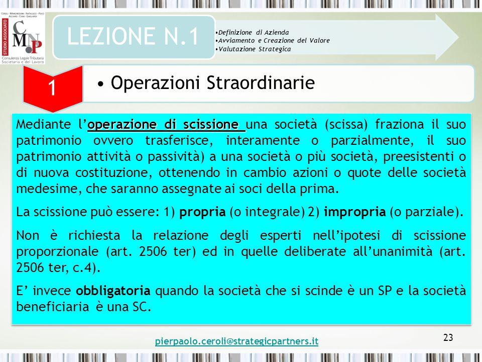 pierpaolo.ceroli@strategicpartners.it 23 operazione di scissione Mediante l'operazione di scissione una società (scissa) fraziona il suo patrimonio ov