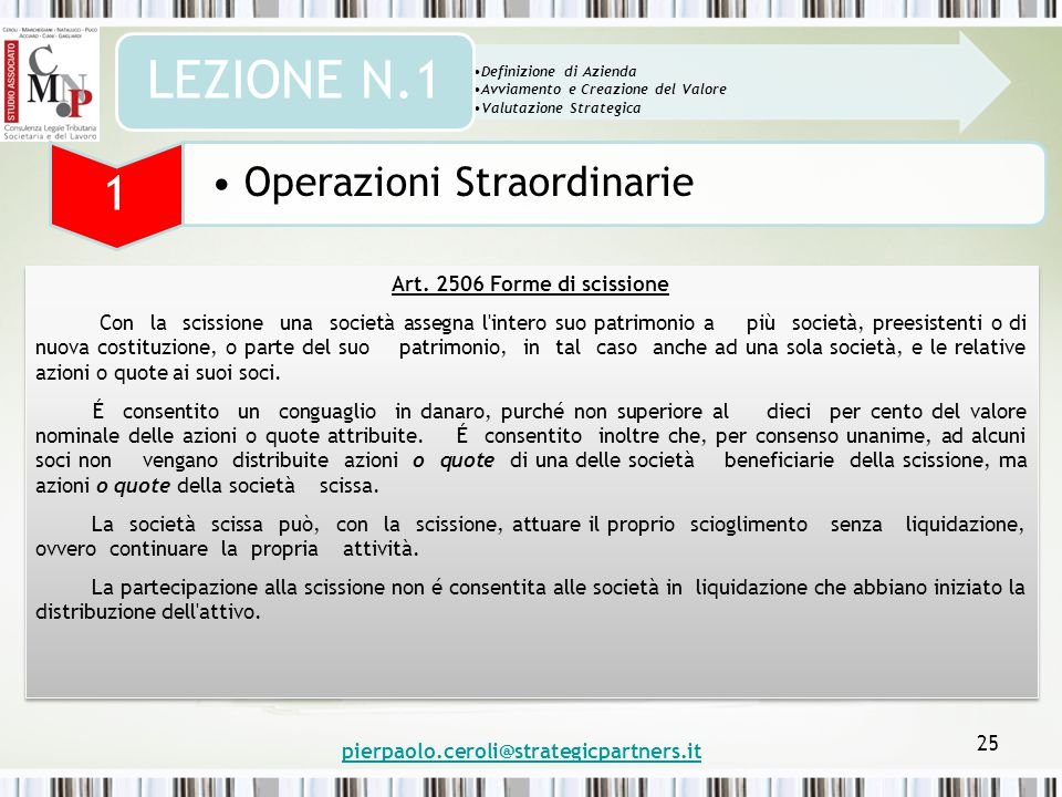 pierpaolo.ceroli@strategicpartners.it 25 Art.