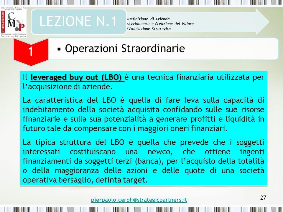 pierpaolo.ceroli@strategicpartners.it 27 leveraged buy out (LBO) Il leveraged buy out (LBO) è una tecnica finanziaria utilizzata per l'acquisizione di aziende.