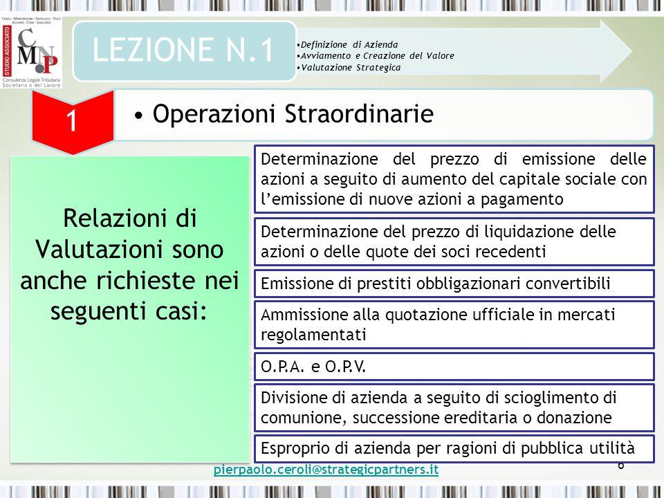 pierpaolo.ceroli@strategicpartners.it 6 Definizione di Azienda Avviamento e Creazione del Valore Valutazione Strategica LEZIONE N.1 1 Operazioni Strao