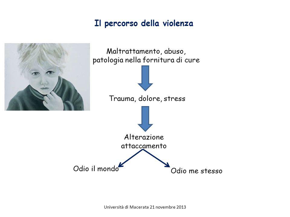 Il percorso della violenza Maltrattamento, abuso, patologia nella fornitura di cure Trauma, dolore, stress Alterazione attaccamento Odio il mondo Odio