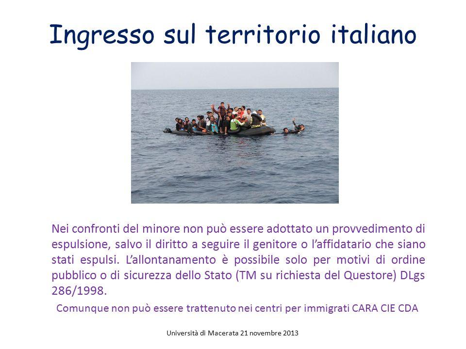 Ingresso sul territorio italiano Nei confronti del minore non può essere adottato un provvedimento di espulsione, salvo il diritto a seguire il genito
