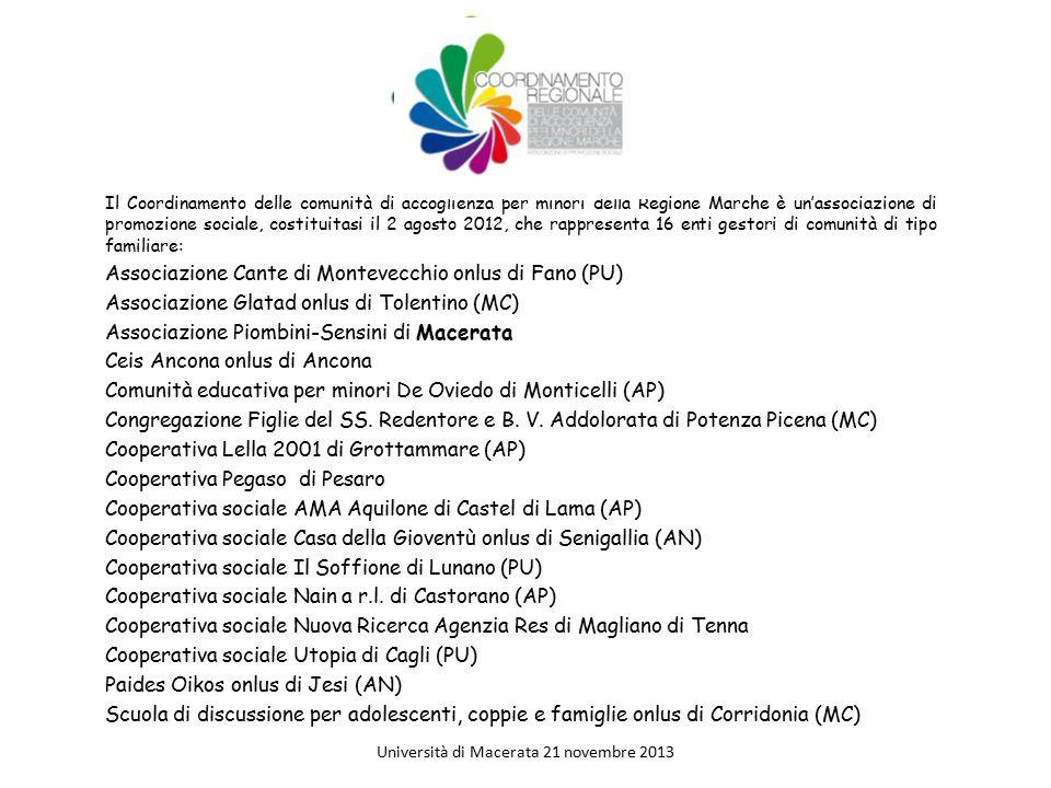 Il Coordinamento delle comunità di accoglienza per minori della Regione Marche è un'associazione di promozione sociale, costituitasi il 2 agosto 2012,
