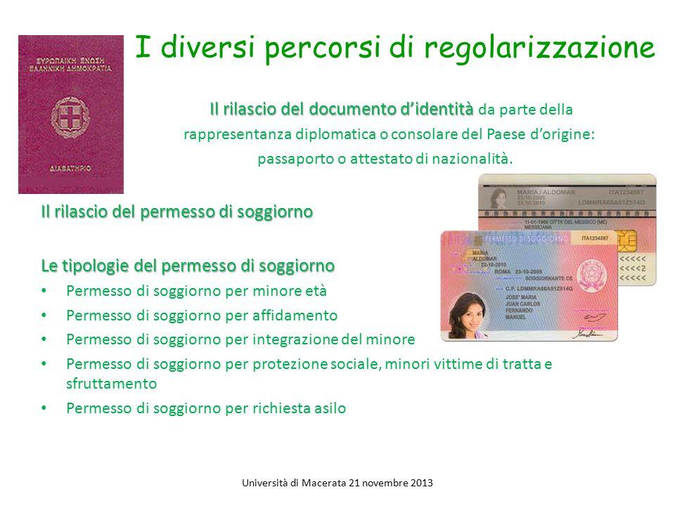 I diversi percorsi di regolarizzazione Il rilascio del documento d'identità Il rilascio del documento d'identità da parte della rappresentanza diploma