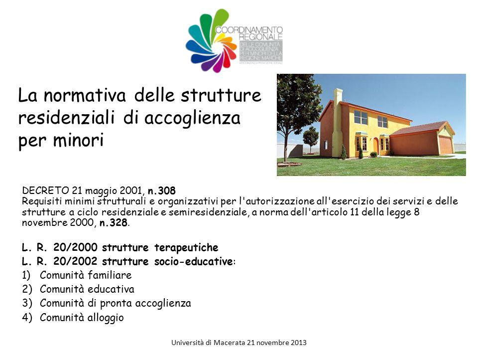 La normativa delle strutture residenziali di accoglienza per minori DECRETO 21 maggio 2001, n.308 Requisiti minimi strutturali e organizzativi per l'a