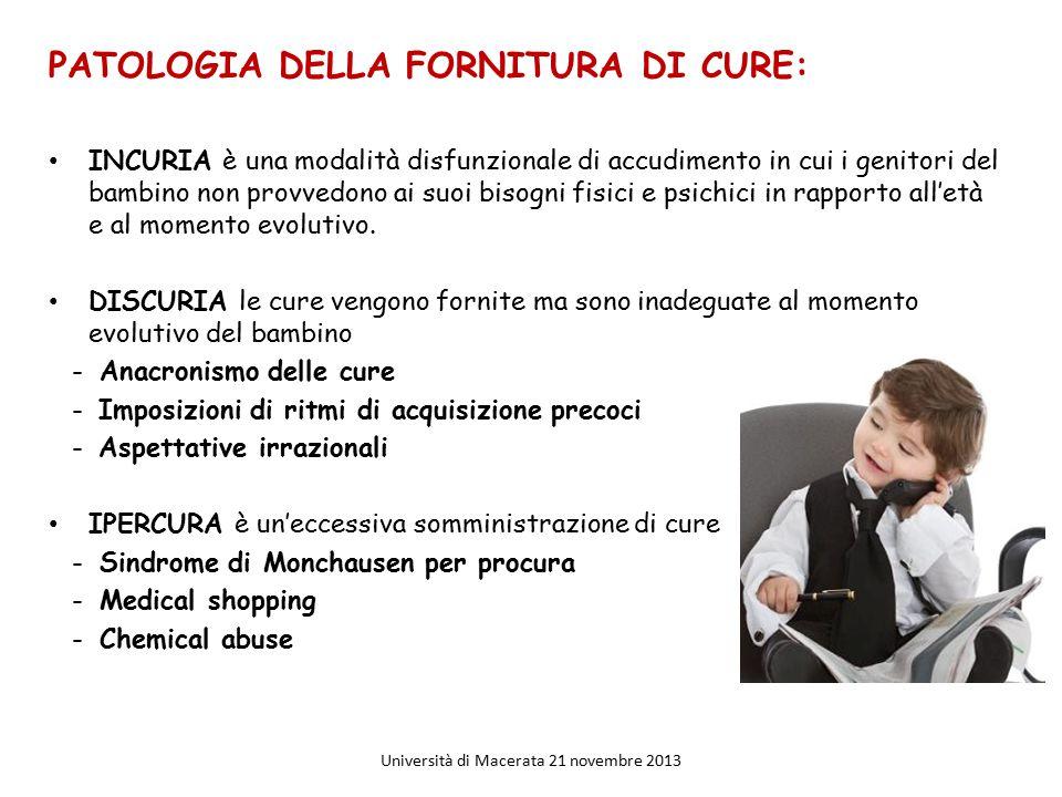PATOLOGIA DELLA FORNITURA DI CURE: INCURIA è una modalità disfunzionale di accudimento in cui i genitori del bambino non provvedono ai suoi bisogni fi