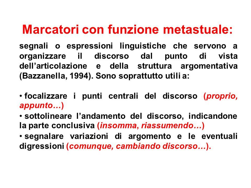 Marcatori con funzione metastuale: segnali o espressioni linguistiche che servono a organizzare il discorso dal punto di vista dell'articolazione e della struttura argomentativa (Bazzanella, 1994).