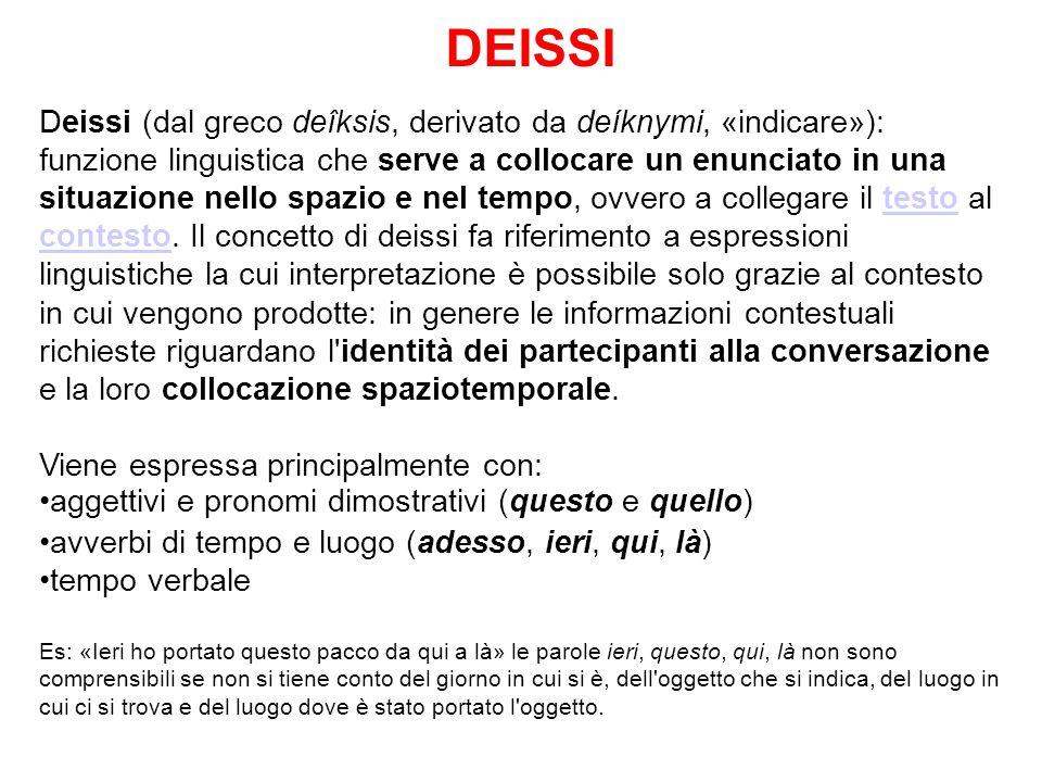 DEISSI Deissi (dal greco deîksis, derivato da deíknymi, «indicare»): funzione linguistica che serve a collocare un enunciato in una situazione nello spazio e nel tempo, ovvero a collegare il testo al contesto.