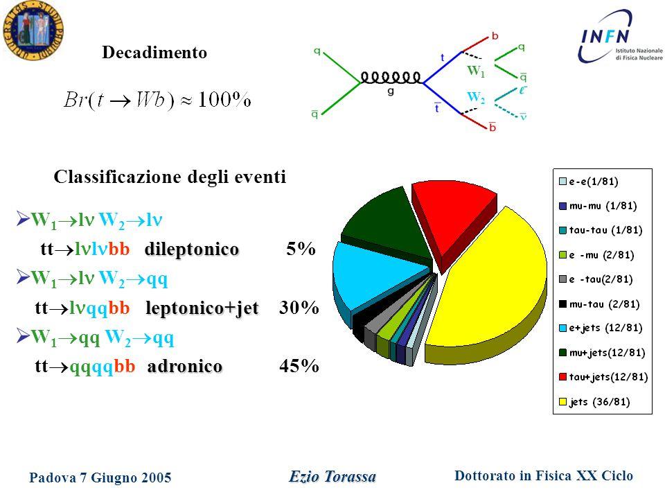 Dottorato in Fisica XX Ciclo Padova 7 Giugno 2005 Ezio Torassa Decadimento Classificazione degli eventi  W 1  l W 2  l dileptonico tt  l l bb dileptonico 5%  W 1  l W 2  qq leptonico+jet tt  l qqbb leptonico+jet 30%  W 1  qq W 2  qq adronico tt  qqqqbb adronico 45% W1W1 W2W2