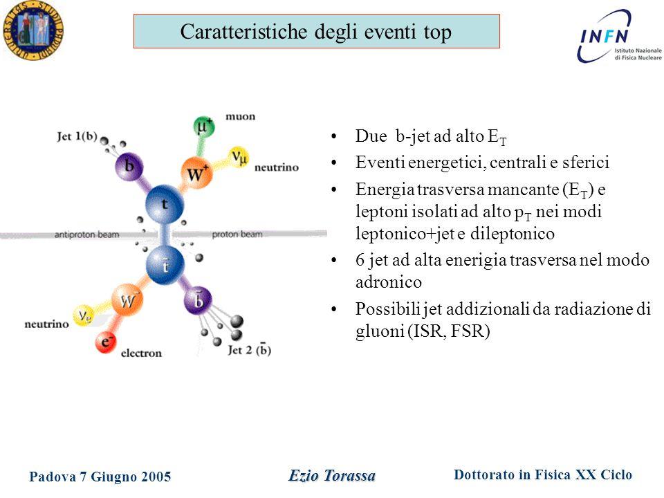 Dottorato in Fisica XX Ciclo Padova 7 Giugno 2005 Ezio Torassa Due b-jet ad alto E T Eventi energetici, centrali e sferici Energia trasversa mancante (E T ) e leptoni isolati ad alto p T nei modi leptonico+jet e dileptonico 6 jet ad alta enerigia trasversa nel modo adronico Possibili jet addizionali da radiazione di gluoni (ISR, FSR) Caratteristiche degli eventi top