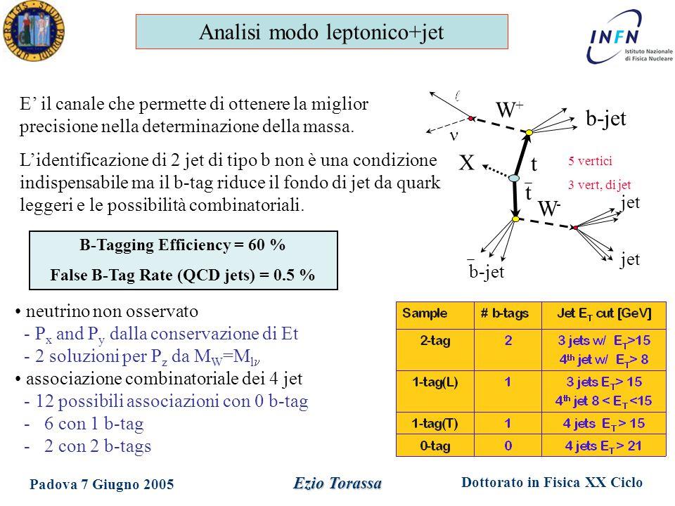 Dottorato in Fisica XX Ciclo Padova 7 Giugno 2005 Ezio Torassa neutrino non osservato - P x and P y dalla conservazione di Et - 2 soluzioni per P z da M W =M l associazione combinatoriale dei 4 jet - 12 possibili associazioni con 0 b-tag - 6 con 1 b-tag - 2 con 2 b-tags W+W+ W-W- t t b-jet jet X 5 vertici 3 vert, di jet E' il canale che permette di ottenere la miglior precisione nella determinazione della massa.