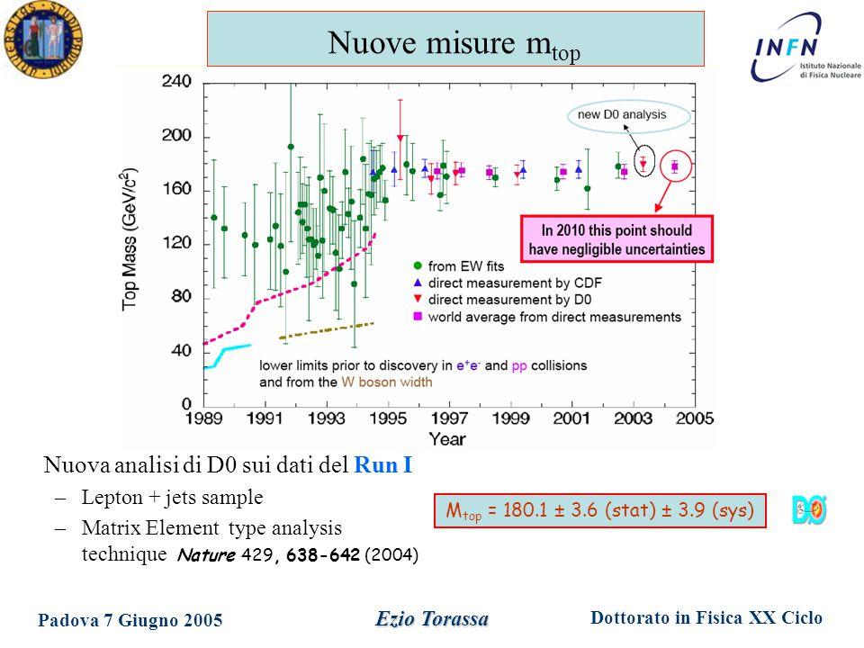 Dottorato in Fisica XX Ciclo Padova 7 Giugno 2005 Ezio Torassa Nuova analisi di D0 sui dati del Run I –Lepton + jets sample –Matrix Element type analysis technique Nature 429, 638-642 (2004) M top = 180.1 ± 3.6 (stat) ± 3.9 (sys) Nuove misure m top
