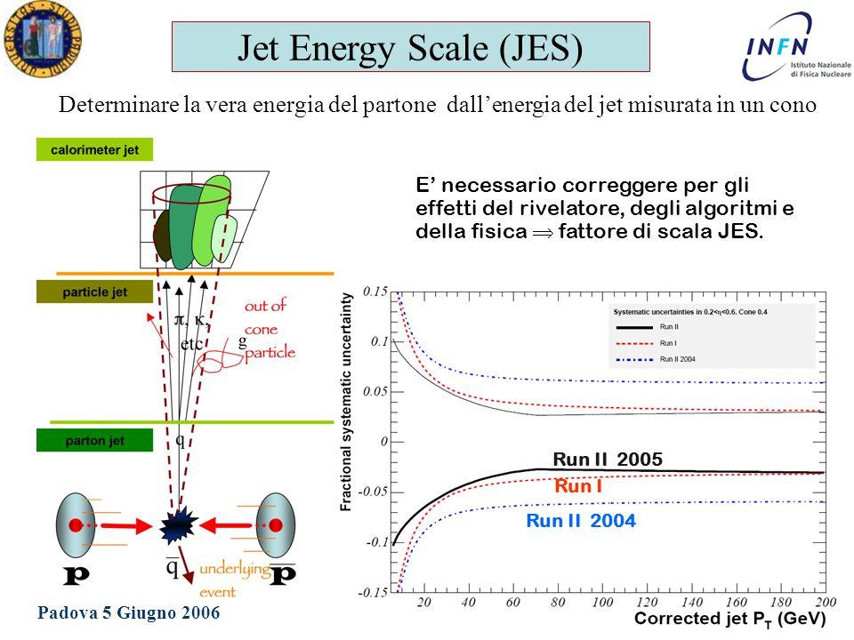 Dottorato in Fisica XXI Ciclo Padova 5 Giugno 2006 Ezio Torassa Jet Energy Scale (JES) Determinare la vera energia del partone dall'energia del jet misurata in un cono E' necessario correggere per gli effetti del rivelatore, degli algoritmi e della fisica  fattore di scala JES.