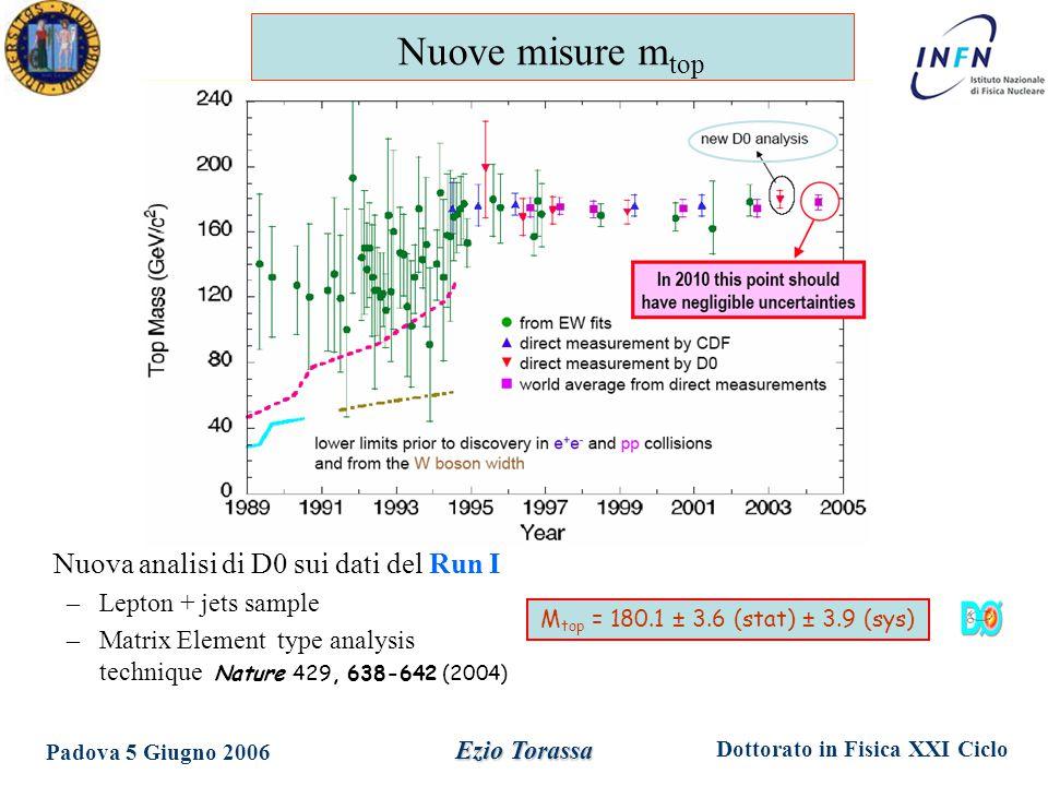 Dottorato in Fisica XXI Ciclo Padova 5 Giugno 2006 Ezio Torassa Nuova analisi di D0 sui dati del Run I –Lepton + jets sample –Matrix Element type analysis technique Nature 429, 638-642 (2004) M top = 180.1 ± 3.6 (stat) ± 3.9 (sys) Nuove misure m top
