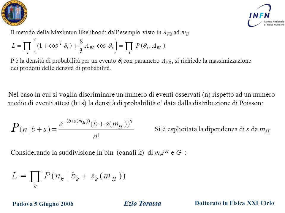 Dottorato in Fisica XXI Ciclo Padova 5 Giugno 2006 Ezio Torassa Il metodo della Maximum likelihood: dall'esempio visto in A FB ad m H P è la densità di probabilità per un evento  i con parametro A FB, si richiede la massimizzazione dei prodotti delle densità di probabilità.