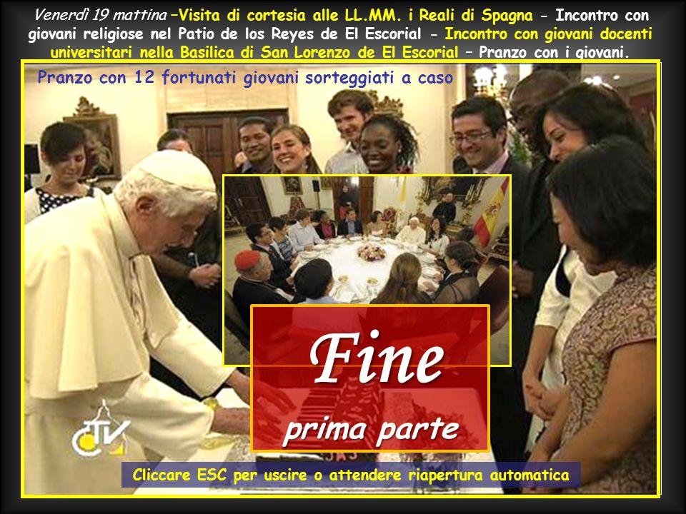 Inizio e conclusione del discorso di S.S. BENEDETTO XVI in Plaza de Cibeles. Cari amici, ringrazio per le affettuose parole che mi hanno rivolto i gio