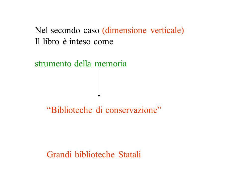 Nel secondo caso (dimensione verticale) Il libro è inteso come strumento della memoria Biblioteche di conservazione Grandi biblioteche Statali