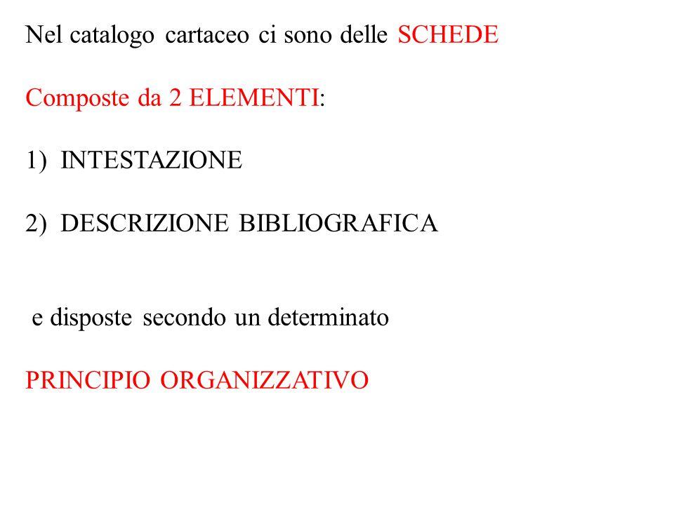 Nel catalogo cartaceo ci sono delle SCHEDE Composte da 2 ELEMENTI: 1) INTESTAZIONE 2) DESCRIZIONE BIBLIOGRAFICA e disposte secondo un determinato PRINCIPIO ORGANIZZATIVO