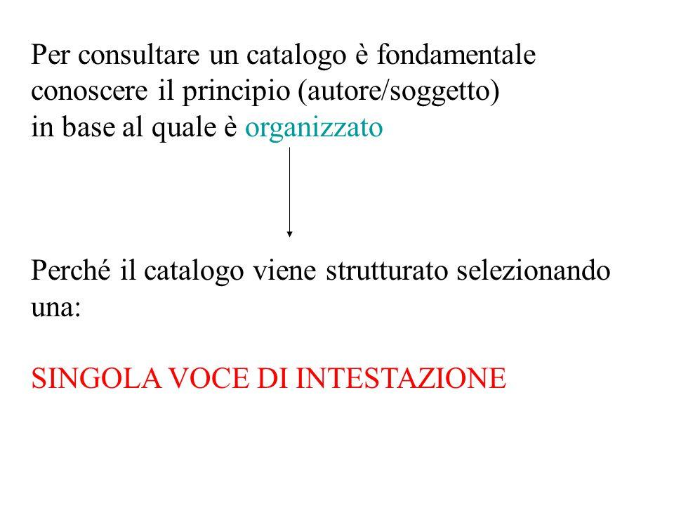 Per consultare un catalogo è fondamentale conoscere il principio (autore/soggetto) in base al quale è organizzato Perché il catalogo viene strutturato selezionando una: SINGOLA VOCE DI INTESTAZIONE