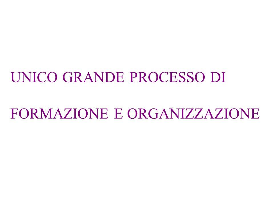 UNICO GRANDE PROCESSO DI FORMAZIONE E ORGANIZZAZIONE