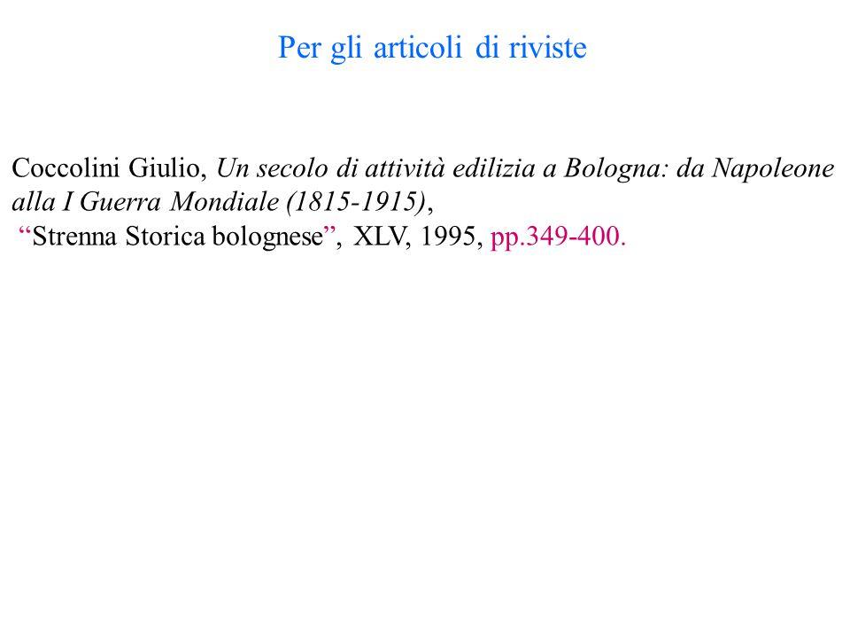 Coccolini Giulio, Un secolo di attività edilizia a Bologna: da Napoleone alla I Guerra Mondiale (1815-1915), Strenna Storica bolognese , XLV, 1995, pp.349-400.