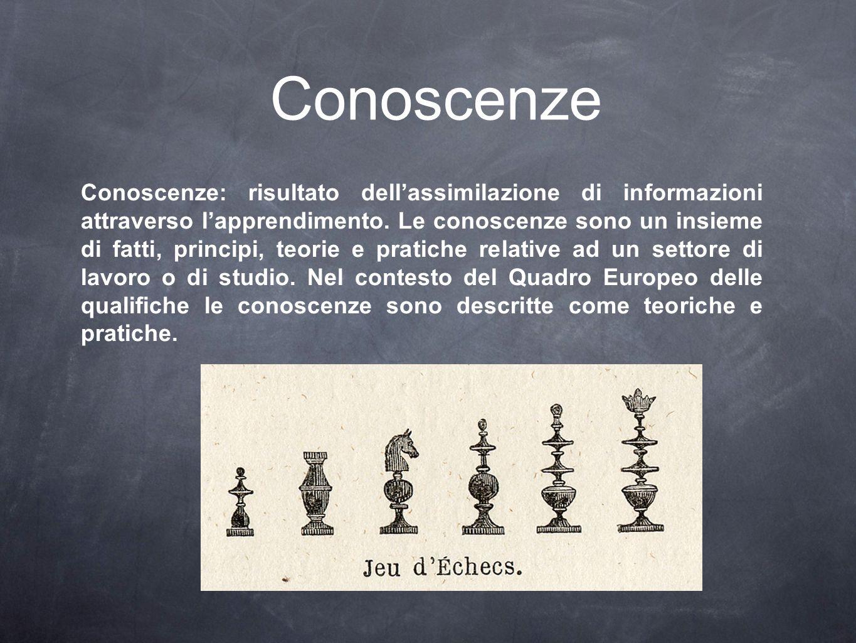 Conoscenze Conoscenze: risultato dell'assimilazione di informazioni attraverso l'apprendimento. Le conoscenze sono un insieme di fatti, principi, teor