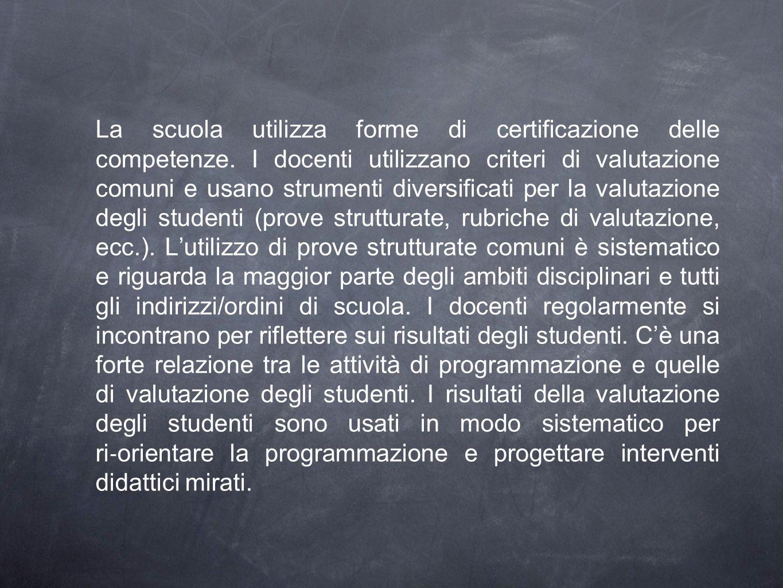 La scuola utilizza forme di certificazione delle competenze. I docenti utilizzano criteri di valutazione comuni e usano strumenti diversificati per la