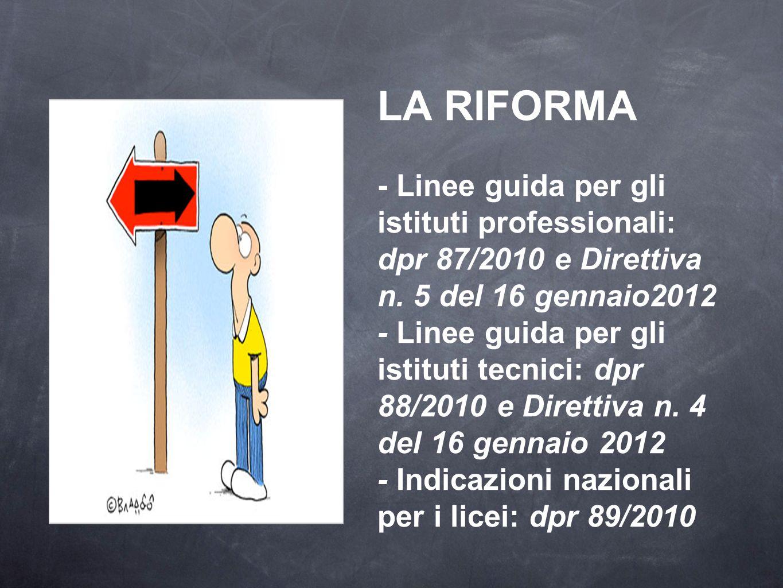 LA RIFORMA - Linee guida per gli istituti professionali: dpr 87/2010 e Direttiva n. 5 del 16 gennaio2012 - Linee guida per gli istituti tecnici: dpr 8