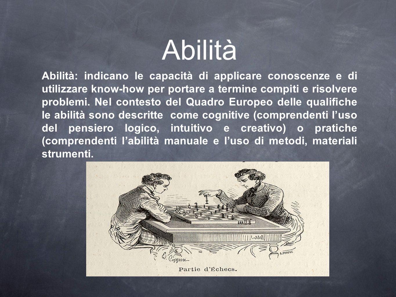 Abilità Abilità: indicano le capacità di applicare conoscenze e di utilizzare know-how per portare a termine compiti e risolvere problemi. Nel contest