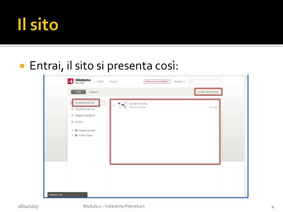  Entrai, il sito si presenta così: 16/04/2015Modulo 1 – Valentino Pietrobon4