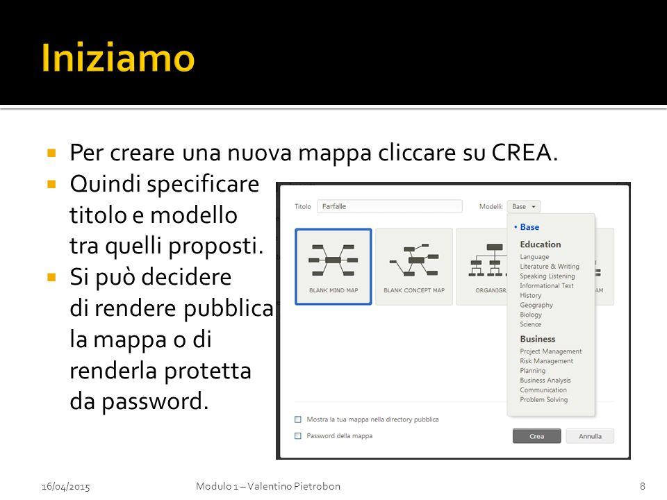  Per creare una nuova mappa cliccare su CREA.