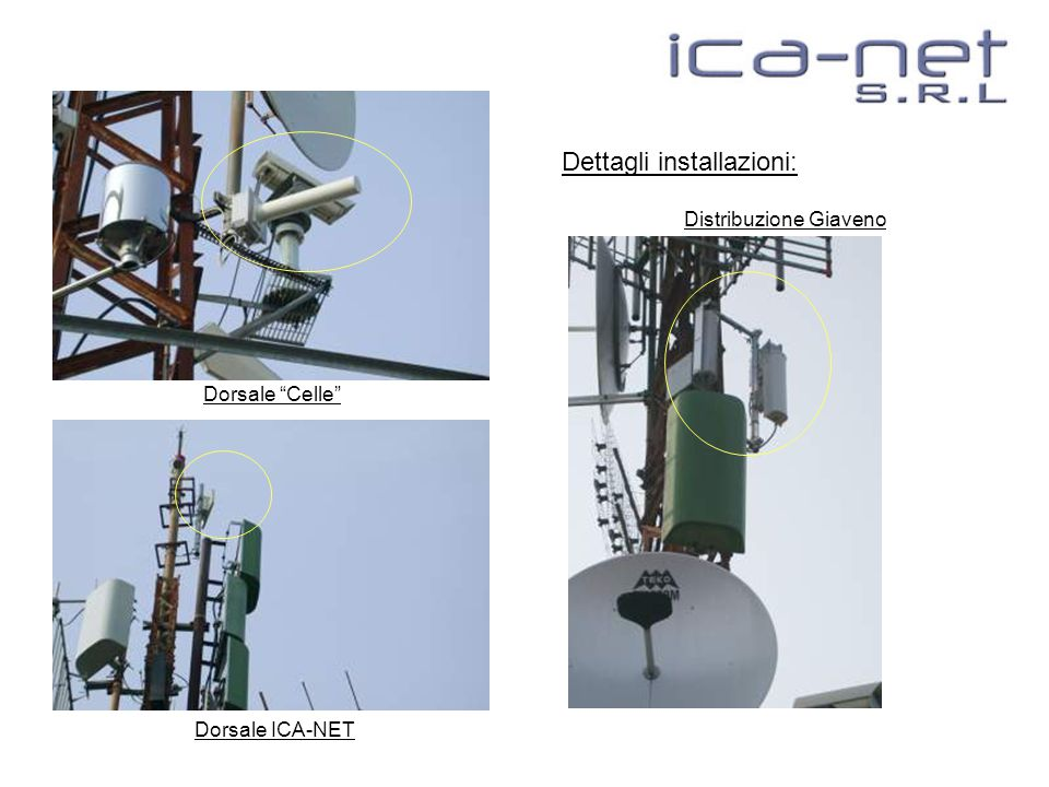 Dettagli installazioni: Dorsale Celle Dorsale ICA-NET Distribuzione Giaveno