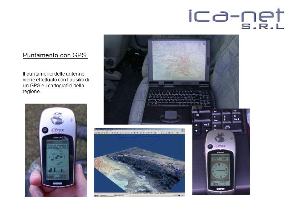 Puntamento con GPS: Il puntamento delle antenne viene effettuato con l'ausilio di un GPS e i cartografici della regione.