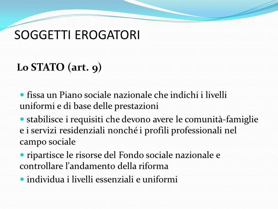 SOGGETTI EROGATORI Le REGIONI (art.