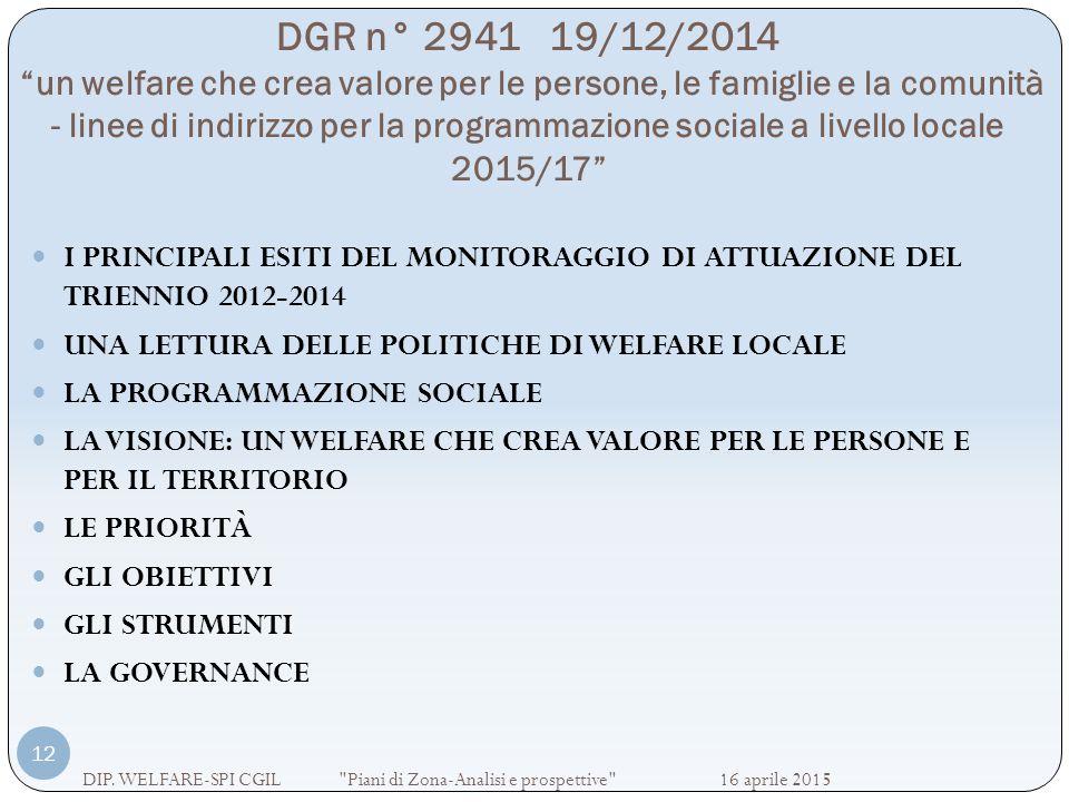 """DGR n° 2941 19/12/2014 """"un welfare che crea valore per le persone, le famiglie e la comunità - linee di indirizzo per la programmazione sociale a live"""